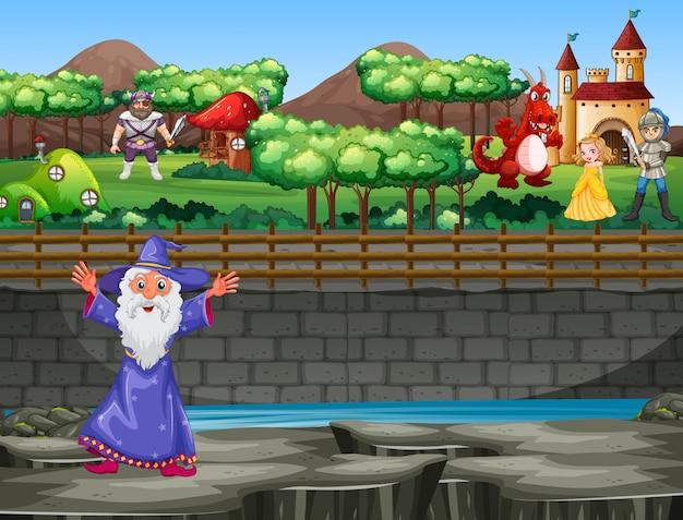 Szene mit zauberer und drache im palast