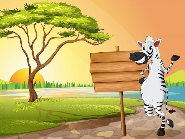 Szene mit zebra und holzschild
