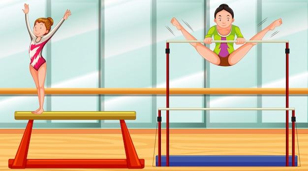 Szene mit zwei mädchen, die im raum gymnastisch tun