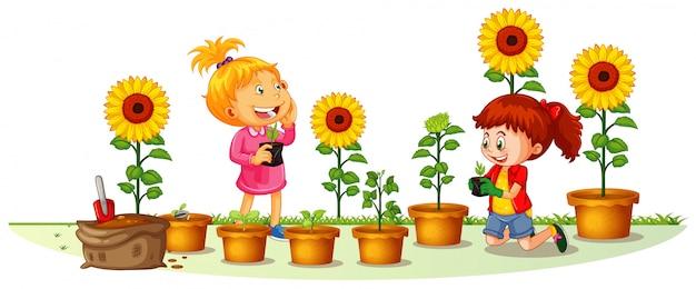 Szene mit zwei mädchen, die sonnenblumen im garten pflanzen