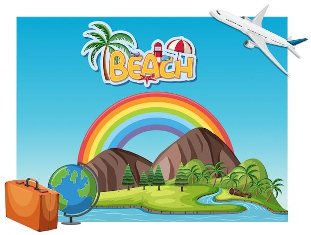 Szene von berg und fluss mit regenbogen. sommerferienkonzept