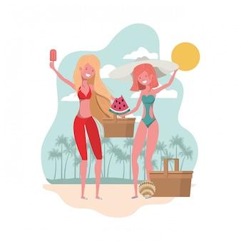 Szene von frauen mit teil der wassermelone in der hand