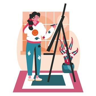 Szenekonzept für behinderte menschen. behinderte frau zeichnet im kunstatelier auf leinwand. zugänglichkeits- und rehabilitationsperson, aktivitäten für kreative menschen. vektor-illustration von charakteren im flachen design