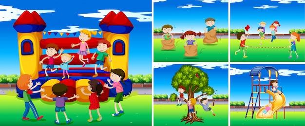 Szenen mit kindern auf dem spielplatz