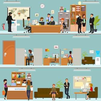 Szenen von menschen, die im büro arbeiten. innenbüro.