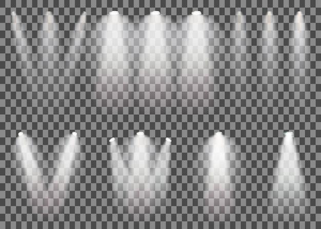 Szenenbeleuchtung eingestellt. scheinwerfer des kalten lichteffektes auf transparentem hintergrund.
