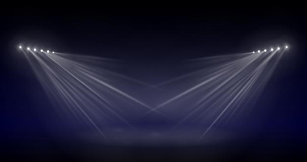 Szenenbeleuchtung, transparenter blitzlichteffekt, sonnenlicht-speziallinse. helle blitze und beleuchtung mit scheinwerfern. spotbeleuchtung der bühne.