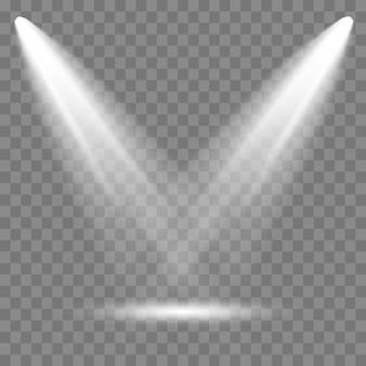 Szenenbeleuchtung, transparenter effekt. helle beleuchtung mit scheinwerfer.
