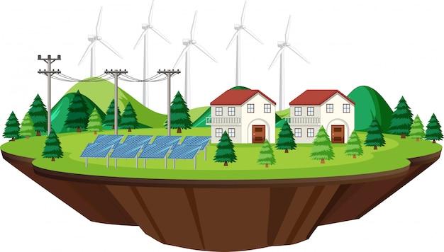 Szenenhäuser mit solarzellen und windkraftanlagen