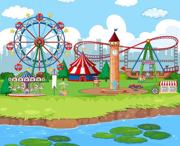 Szenenhintergrund mit fahrten am karneval