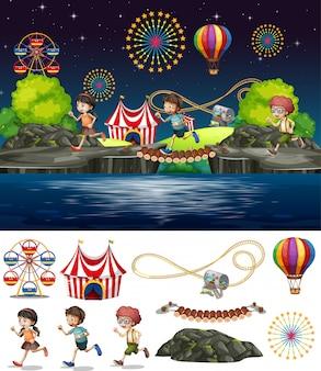 Szenenhintergrunddesign mit den leuten, die im zirkus spielen