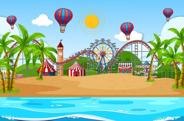 Szenenhintergrunddesign mit zirkus auf dem strand