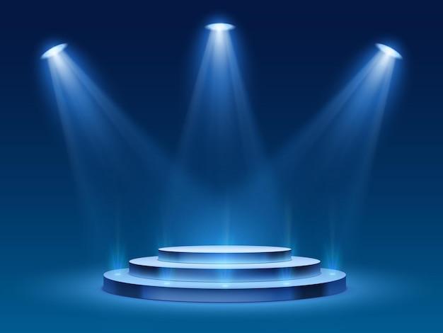 Szenenpodest mit blauem licht
