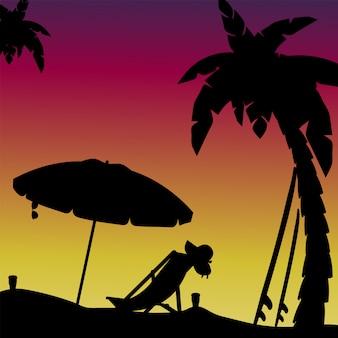Szenenschattenbild des abends am strand mit palmen. illustration.