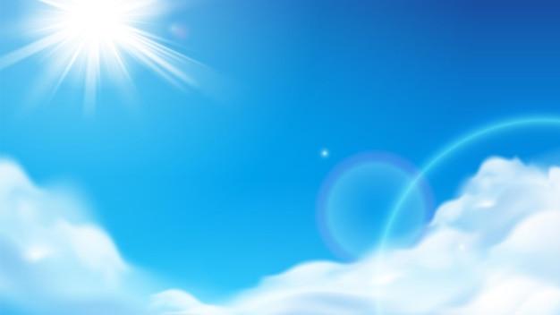 Szenische strahlende sonne mit flauschigen wolken
