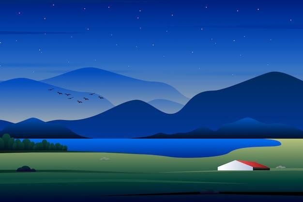 Szenisches haus des landes im wald, illustration