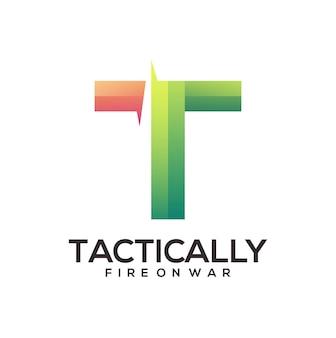 T-brief-logo bunte illustration abstrakter farbverlauf