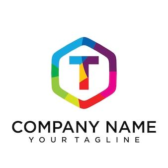 T letter logo icon hexagon design template element