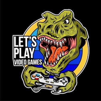 T rex angry dinosaur gamer, die das spiel auf dem joystick gamepad controller für arcade-videospiele spielen. benutzerdefinierte maskottchen sport logo design illustration. druckdesign der geek-kultur für t-shirt-bekleidung.