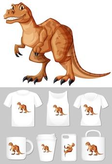 T-rex auf verschiedenen arten von produktvorlagen