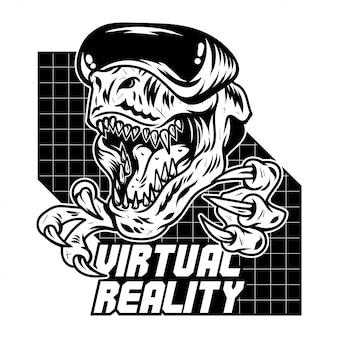 T rex dinosaurier verärgerter spieler, die ein virtuelles arcade-videospiel in einer modernen vr-brille spielen.