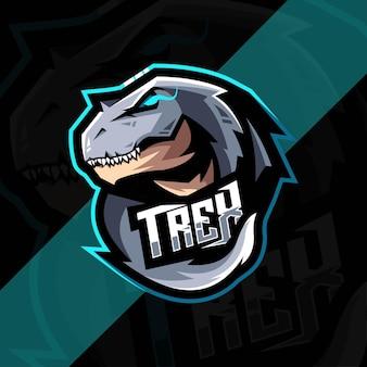 T-rex maskottchen logo esport design
