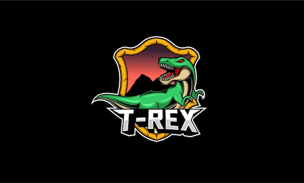 T rex maskottchen logo illustration