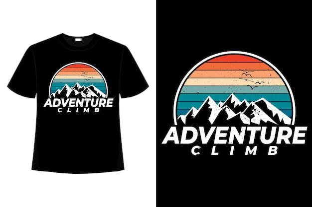 T-shirt abenteuer aufstieg berg retro-stil