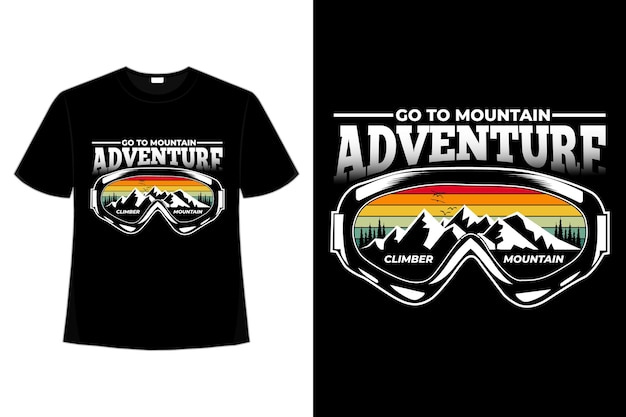 T-shirt abenteuer bergkiefer retro-stil