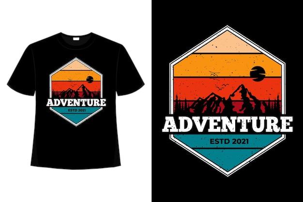 T-shirt abenteuer kiefer berg retro-stil