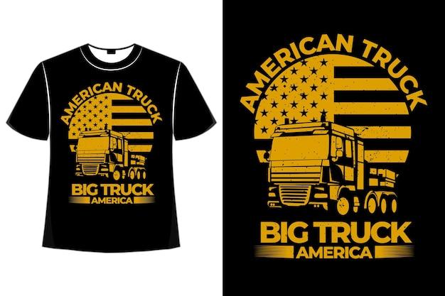 T-shirt amerikanische lkw-flagge großer weinlesestil