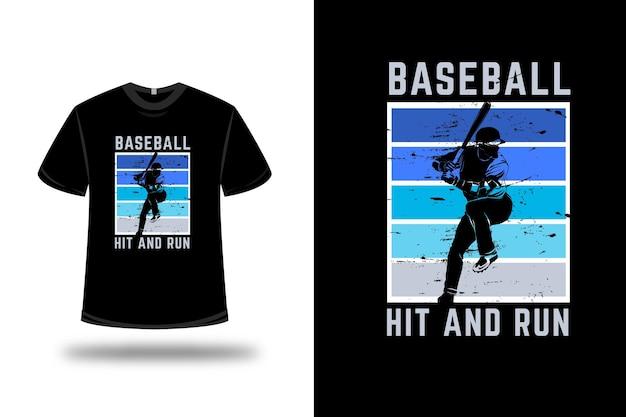 T-shirt baseball hit and run farbe blau und grün