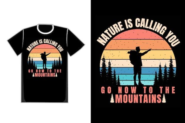 T-shirt bergsteigen kiefer retro bergstil