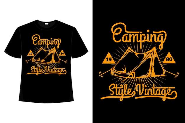 T-shirt camping vintage-stil