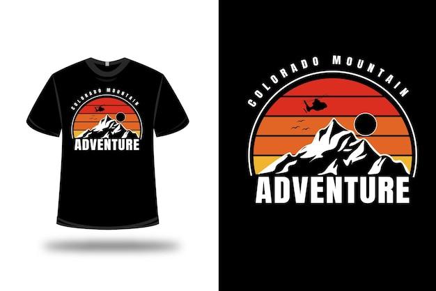 T-shirt colorado mountain abenteuer farbe gelb und orange farbverlauf Premium Vektoren