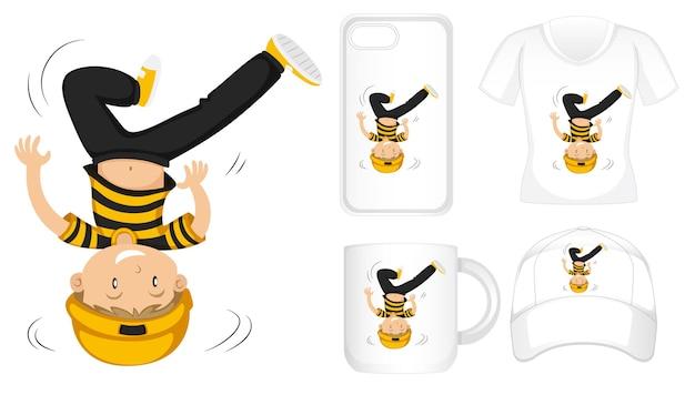 T-shirt, cover mobile, becher und mütze design mit hipster boy