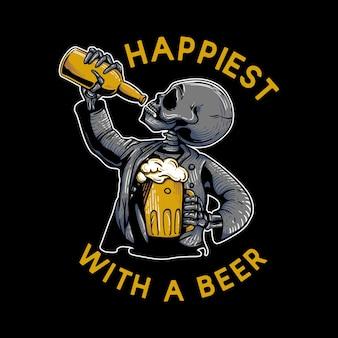 T-shirt-design am glücklichsten mit einem bier mit skelett, das eine tasse bier trägt und bier in der flasche trinkt vintage-illustration