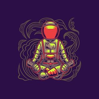 T-shirt design astronauten gymnastik sitzen pose yoga illustration