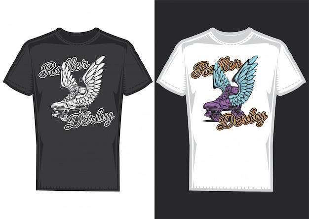 T-shirt design auf 2 t-shirts mit plakaten von rollen mit flügeln.