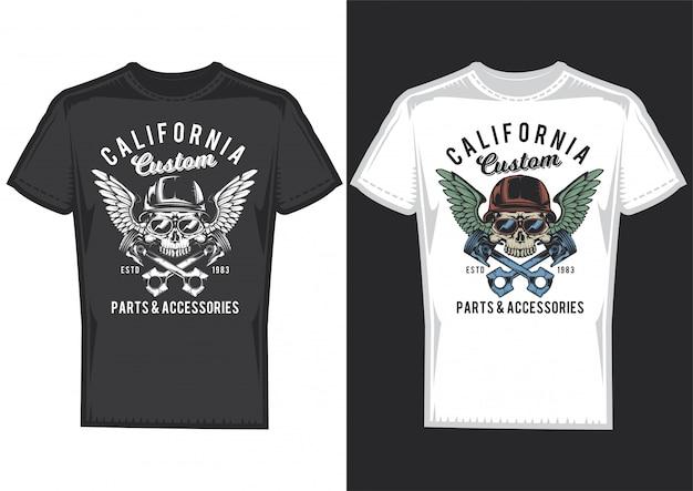 T-shirt design auf 2 t-shirts mit plakaten von schädeln mit helmen und flügeln.