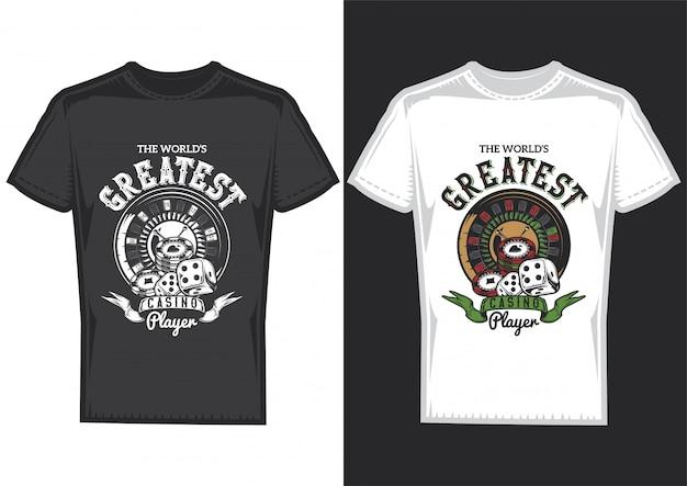 T-shirt design auf 2 t-shirts mit postern von casino-elementen: karten, chips und roulette.