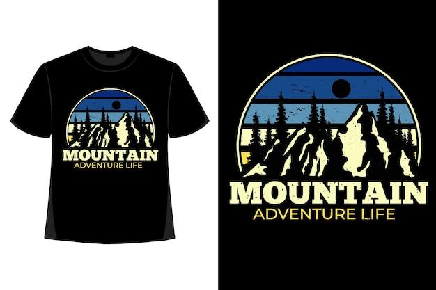 T-shirt-design der bergkiefer-abenteuerleben-retro-vintage-illustration