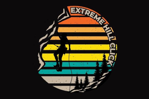 T-shirt design der extremen hügel-gebirgsnatur handgezeichnete retro-vintage-illustration