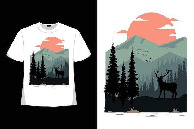 T-shirt-design der handgezeichneten art-vintage-illustration der bergflachen hirschnatur