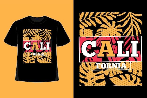 T-shirt-design der handgezeichneten vintage-illustration der kalifornischen blatttypografie