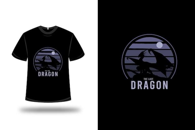 T-shirt design. der letzte drache in lila und schwarz