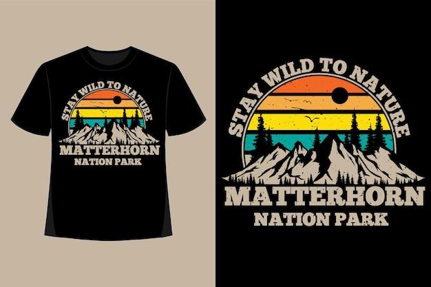 T-shirt design der natur bleiben wilde nation park handgezeichnete gerstenkorn retro vintage illustration
