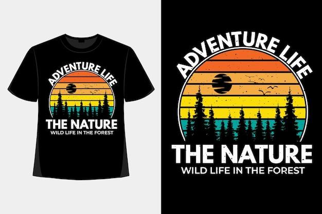 T-shirt design der natur wildes leben abenteuer kiefer retro vintage illustration