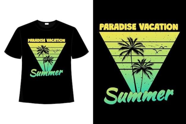 T-shirt-design der paradiesferiensommersonnenuntergangspalme im retro-stil