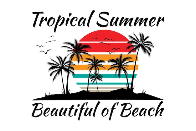 T-shirt-design der retro-vintage-illustration des tropischen sommers schöne strandsonne